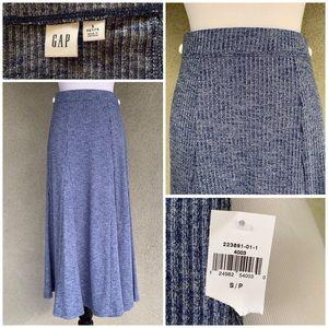 Gap Ribbed Knit Skirt Heather Navy Petite Small